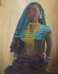Deepa Sharma Tribal Girl 18x24 Inch Acrylic on Board