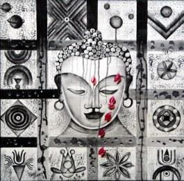 Kamal Sharma Budha in deep Meditation 25x25 Inch Acrylic on Canvas