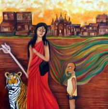Shraboni Benerji The Embodiment of Shakti 24x24 Inch Oil on Canvas