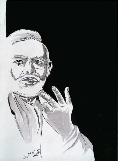 1) Aman Chakra I Modi jee I Acrylic on Canvas I 18x29 Inches