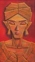 10) Gopal Krishna Mallick I Woman I Oil on Canvas I 54x30 Inches