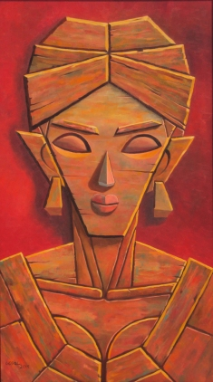 10) Gopal Krishna Mallick I Woman I Oil on Canvas I 54x30 Inches