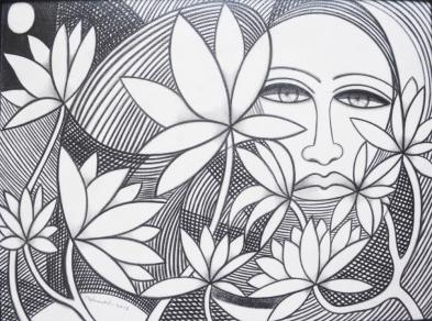 15) Mahmood Ahmad I Waiting I charcoal on Canvas I 12x15 Inches