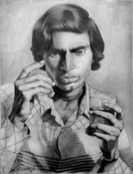19) Om Prakash Chawla I Self Portrait I Pencil on Paper I 21x16 Inches