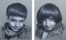 22) Parminder Singh Sandhu I Children I Charcoal on Paper I 28x20 Inches