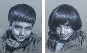 22) Parminder Singh Sandhu I Children I Charcoal on Paper I 28x20 Inches