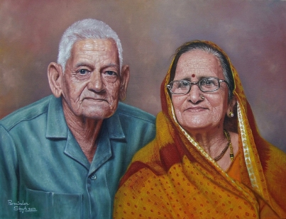 23) Parminder Singh Sandhu I Grand Parents I Oil on Canvas I 28x20 Inches