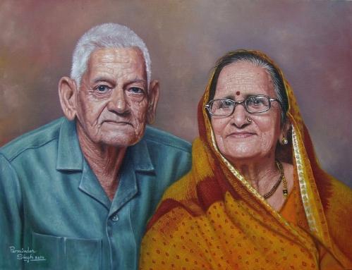 23) Parminder Singh Sandhu I Grand Parents I Oil on Canvas I 28x20 Inches