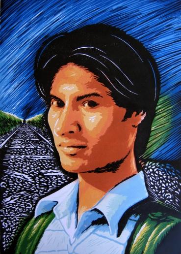 27) Rahul Dhiman I Self Portrait I Wood Cut I 17x12 Inches