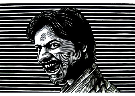 28) Rahul Dhiman I Self Portrait I Wood Cut I 24x15 Inches