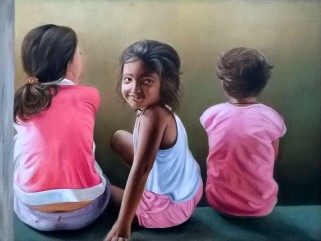 30) Rajpal Kalia I Little Friends I Oil on Canvas I 36x24 Inches