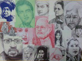 4) Bhushan Saini I The People I Ink on Paper I 18x24 Inches