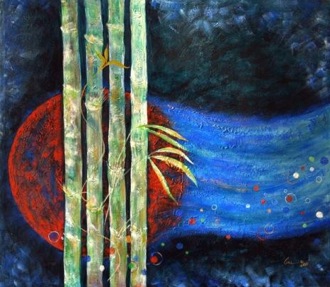 Amita Bamboos Series-Evolution Acrylic on Canvas 38 x 32 Inches 30K
