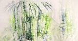Amita Bamboos Series-Morning Mist Acrylic on Canvas 36 x 72 Inches 50K