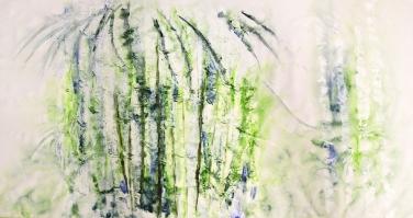 Amita Bamboos Series-Morning Mist Acrylic on Canvas 36 x 72 Inches 50K