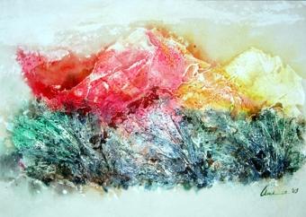 Amita Gupta Mountain Series Acrylic on Paper 14.5x10.5 Inch