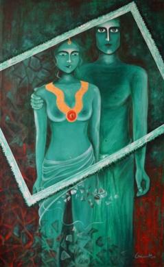 Amita Gupta Possessions Acrylic on Canvas 48x30 Inch