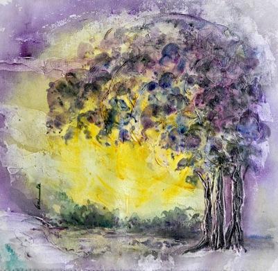 Amita Tree Series -3 Acrylic on Canvas 12 x 12 Inches 4K