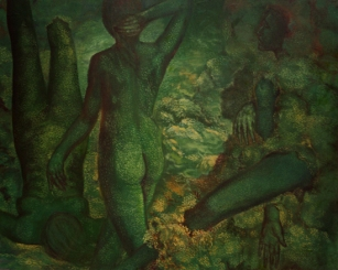 Balwinder Tanwar Sea Nymphs 36x48 Oil on Canvas 1995 SOLD
