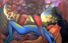 Balwinder Tanwar Untitled 36x60 Oil on Canvas 1995 SOLD