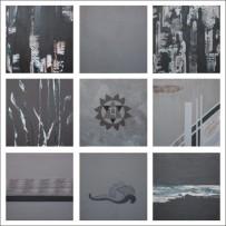 Charu Goel Air Hawa Acrylic on Canvas 18 x 18 Inches Set of 9 (2)