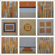 Charu Goel Earth Dharti Acrylic on Canvas 18 x 18 Inches Set of 9