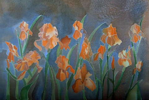 Charu Goel Field of Irisis Natural Colour on Silk 15x27 Inches