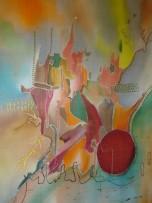 Charu Goel Suter space-2 Natural Colour on Silk