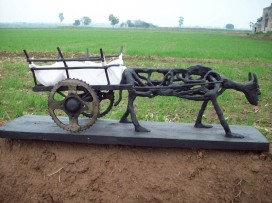 Harminder Singh Boparia Bull Cart Metal Scraap and M Seal 29 x 11 Inches 2012