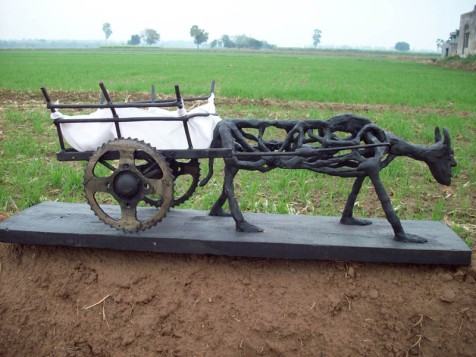 Harminder Singh Boparia Bull Cart Metal Scraap and M Seal 29 x 11 Inches 2012