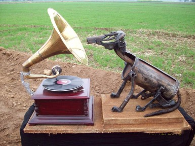 Harminder Singh Boparia His Masters Voice Metal Scraap and Gramophone 36 x 24 Inches 2012