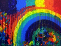 Kishore Shanker Dissolving Rainbow I Acrylic on Canvas 30 x 40 Inches Callection of TellusArt