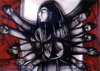 N P Pandey Untitled-1 Charcoal Acrylic on Canvas 36 x 48 Inches