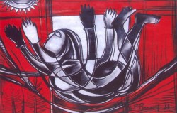 N P Pandey Untitled-2 Charcoal Acrylic on Canvas 48 x 36 Inches