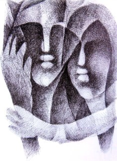 N P Pandey Untitled-3 Charcoal Acrylic on Canvas 48 x 36 Inches