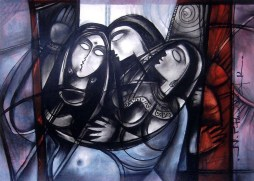 N P Pandey Untitled-6 Charcoal Acrylic on Canvas 36 x 48 Inches