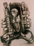 N P Pandey Untitled-6 Charcoal Acrylic on Canvas 48 x 36 Inches