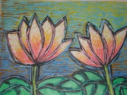 Nirmal Thakur Happy Lotus Mix Media 13x15 Inches 2007 3.5K