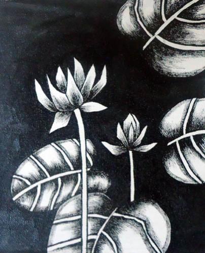 Nirmal Thakur Lotus-1 Mix Media on Canvas 9x7 Inches 3.5K