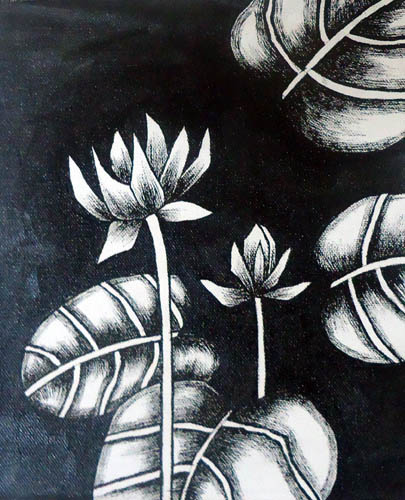 Nirmal Thakur Lotus-1 Mix Media on Canvas 9x7 Inches 3.5K