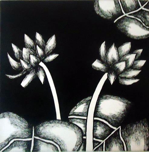Nirmal Thakur Lotus-2 Mix Media on Canvas 12x12 Inches 4K