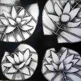 Nirmal Thakur Lotus-3 Mix Media on Canvas 12x12 Inches 4K
