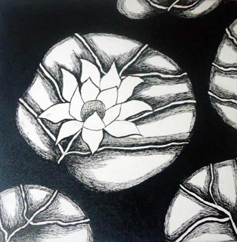 Nirmal Thakur Lotus in Black Mix Media on Canvas 12x12 Inches 4K