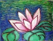 Nirmal Thakur Lotus in Blue Light Mix Media 13x15 inches 2007 3.5K