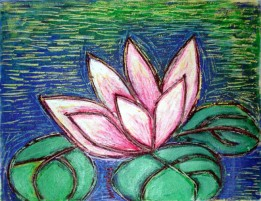 Nirmal Thakur Lotus in Blue Light Mix Media 13x15 inches 2007 3.5K