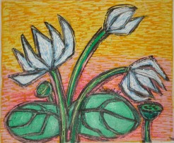 Nirmal Thakur Lotus in Yelllow light Mix Media 13x15 inches 2007 3.5K
