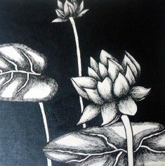 Nirmal Thakur Moon Light Lotus Mix Media on Canvas 12x12 Inches 4K