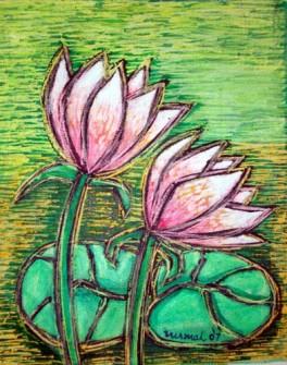 Nirmal Thakur pair of lotus.(mix media)16 x 12.5 inches. Rs. 4k year 2007