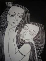 Nirmal Thakur Radha Krishna Mix Media on Canvas 24x18 Inches