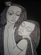 Nirmal Thakur Radha Krishna Mix Media on Canvas 24x18 Inches